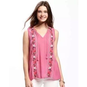 4/$25 - Old Navy Pink Cross Stitch Floral Tank
